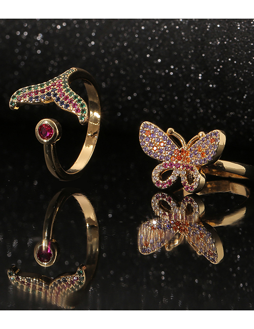 Fashion Mermaid Tail Copper Inlaid Zirconium Butterfly Fish Tail Ring