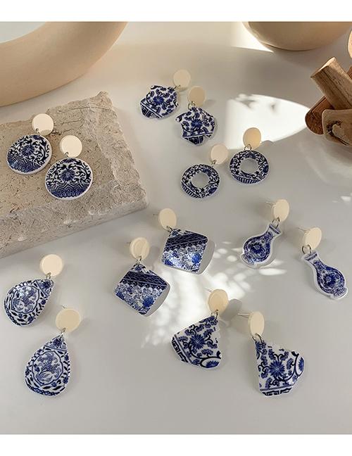 Aretes Geométricos De Acrílico De Porcelana Azul Y Blanca