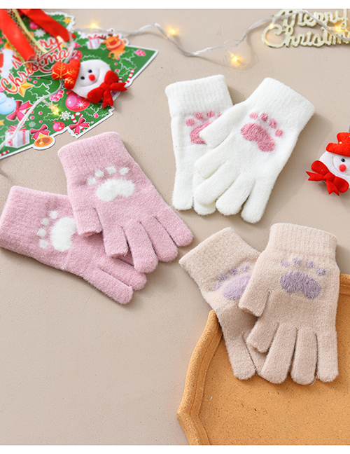 Fashion Grey Fabric Plush Cat Claw Fingerless Touch Screen Gloves