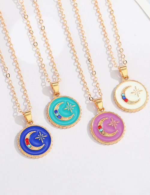 Fashion Blue Alloy Oil Drop Diamond Star And Moon Necklace
