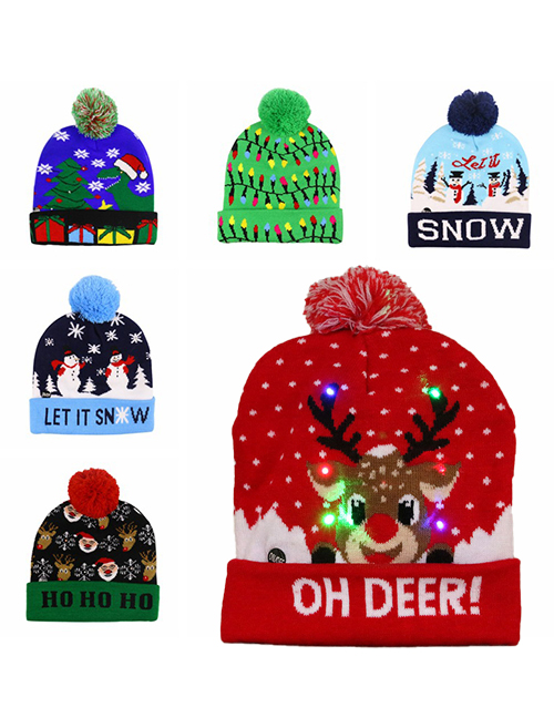 Fashion Red Christmas Tree (live) Christmas Snowman Elk Christmas Tree Flanged Knitted Hat With Ball