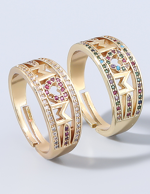 Fashion Color Letter Ring With Copper And Diamonds