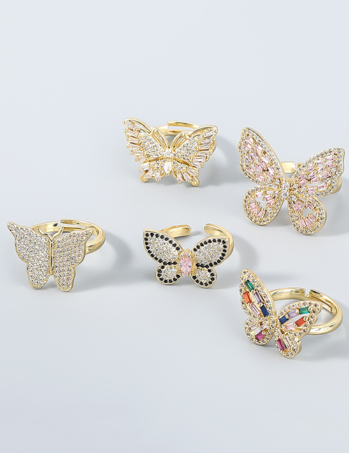 Fashion 1# Copper And Diamond Butterfly Ring