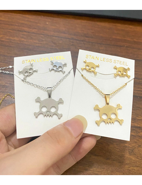 Fashion Gold Color Halloween Skull Necklace And Earrings Set