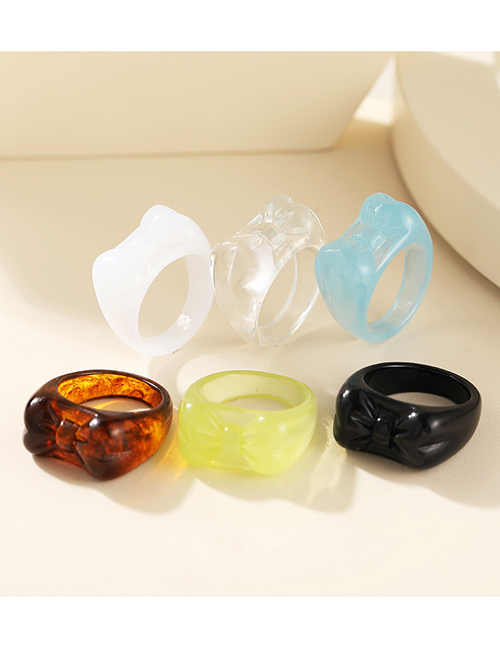 Fashion White Resin Butterfly Ring