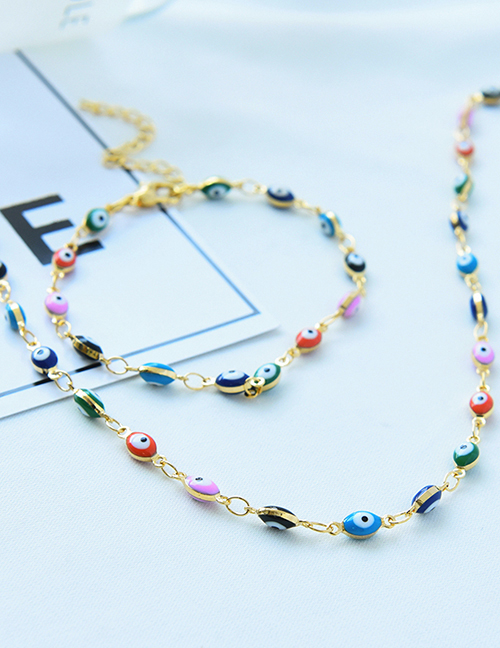 Fashion Color Copper Dripping Eyes Necklace