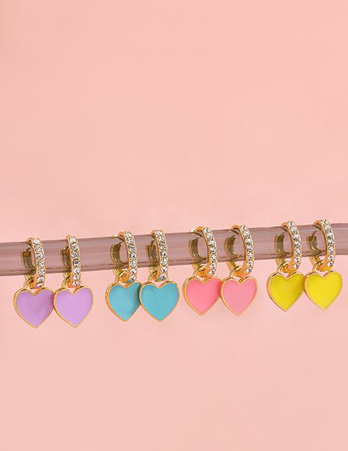 Fashion Purple Alloy Inlaid Zirconium Love Ear Ring