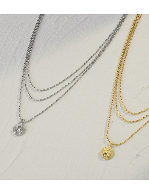 Fashion Steel Color Cupid Round Bead Chain Three-layer Necklace