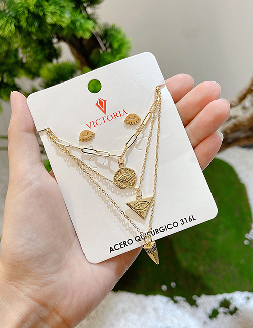 Fashion Gold Color Copper Inlaid Zirconium Multilayer Irregular Eye Necklace And Earrings Set