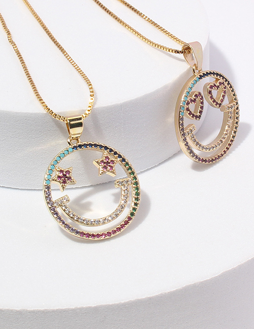 Fashion 1# Alloy Inlaid Zirconium Hollow Smiley Face Necklace