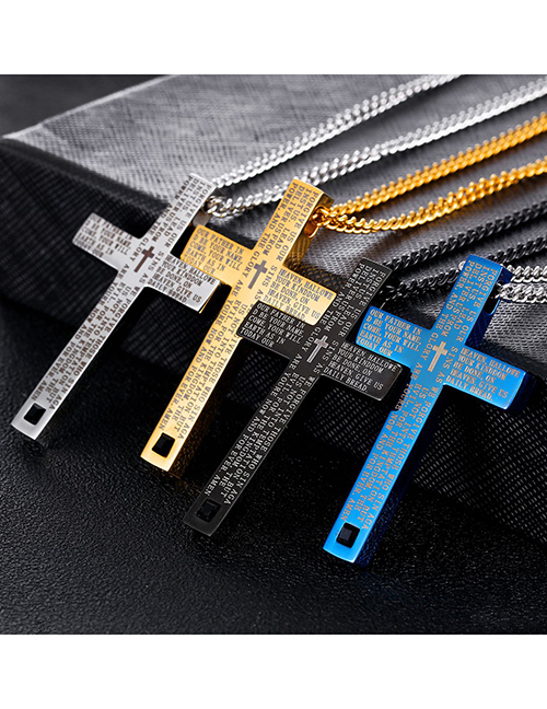Fashion Blue (including Silver O-chain) Stainless Steel Scripture Cross Necklace