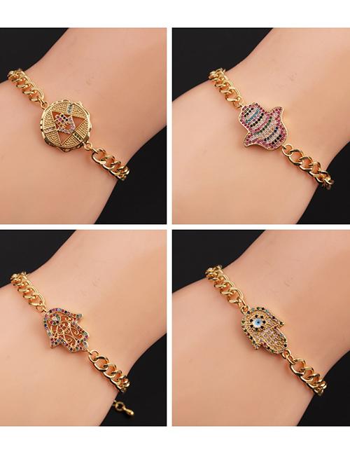 Fashion 4# Gold-plated Copper Color Zirconium Eye Bracelet