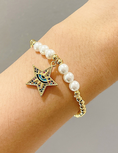 Fashion Color Copper Inlaid Zirconium Pearl Beaded Five-pointed Star Eye Bracelet