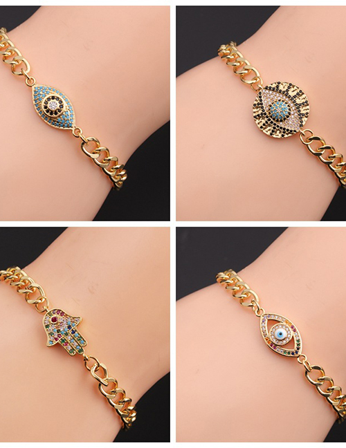 Fashion 1# Copper Plated Real Gold Color Inlaid Zirconium Eye Bracelet