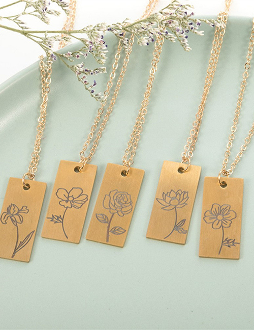 Fashion January Stainless Steel Plant Flower Square Necklace