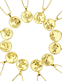 Fashion Platinum Plated Rat Round Glossy Gold-plated Zodiac Pendant Necklace