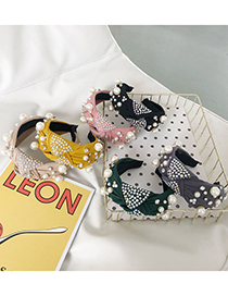 Fashion Yellow Knotted Wide-brimmed Pearl-studded Broad-brim Hair Band