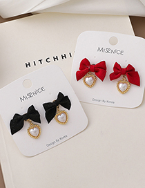 Fashion Black Velvet Bow Love Pearl Earrings