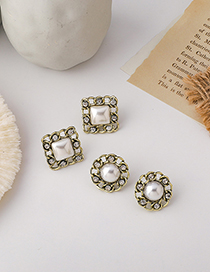 Fashion Round Pearl Button Geometric Round Alloy Earrings