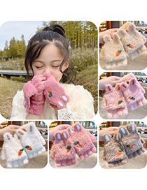 Fashion Pink [5-12 Years Old] Plush Thickened Clamshell Fruit Embroidery Children Gloves