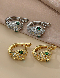 Fashion Gold Color Copper Inlaid Zircon Serpentine Earrings