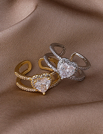Fashion Gold Color Crystal Love Micro-inlaid Zircon Double Layer Ring
