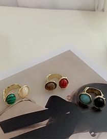 Fashion Emerald Egg-shaped Contrast Gemstone Irregular Texture Ring