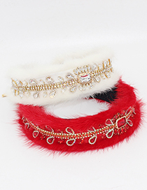 Fashion White Tassel Fuzzy Diamond-studded Geometric Headband