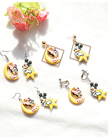 Fashion Earrings Mickey Character Moon Star Asymmetric Earrings