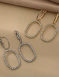 Fashion Gold Color Alloy Diamond Hollow Oval Earrings