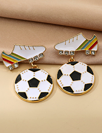 Fashion Color Alloy Diamond Shoes Football Earrings
