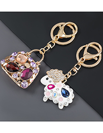 Fashion White Horse Alloy Drip Oil Diamond-studded Horse And Sheep Motorcycle Keychain Pendant
