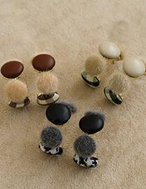 Fashion Creamy-white Alloy Pu Plush Round Earrings