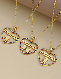 Fashion Golden Copper Inlaid Zircon Letters Mama Girl Necklace