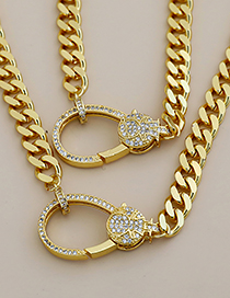 Fashion Golden Copper Inlaid Zircon Geometric Girl Thick Chain Necklace
