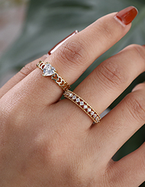 Fashion Golden Copper Inlaid Zircon Love Ring