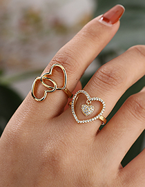 Fashion Golden Copper Inlaid Zircon Hollow Heart Ring