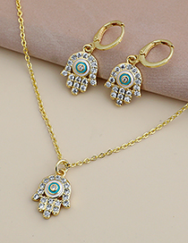 Fashion Golden Copper Inlaid Zircon Palm Necklace
