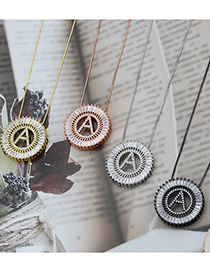 Fashion Gold Plated A Gold-plated Letters Round Inlaid Zirconium Copper Pendant Necklace