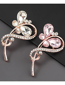 Fashion White Alloy Diamond Flower Brooch