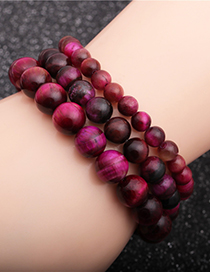 Fashion 6mm Rose Red Tiger Eye Tiger Eye Stone Stretch Beaded Bracelet