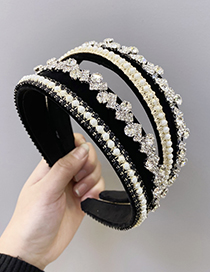 Fashion Black Diamond-studded Pearl Geometric Fabric Hair Band