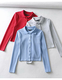 Fashion Blue Lapel Single-breasted Knitted Slim-fit T-shirt Top
