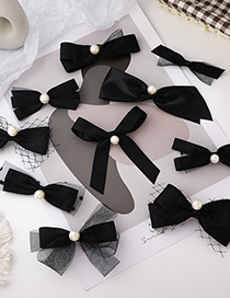 Fashion Knotted Mesh Bow Lace Pearl Geometric Hairpin