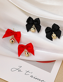 Fashion Red Bowknot Bell Alloy Stud Earrings