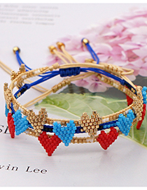 Fashion Golden Rice Beads Hand-woven Love Beaded Bracelet