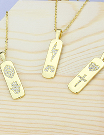 Fashion Gilded Palm Rectangle Tag Diamond Flat Gold-plated Copper Pendant Necklace