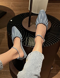 Fashion Blue Pointed Shallow Mouth Sandals With Stiletto Heel