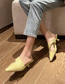 Fashion Yellow Baotou Mid-heel Hollow Half Slippers
