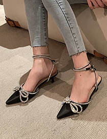 Fashion White Bow Ankle Buckle Pointed Toe Sandals